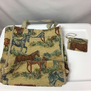 Horse Handbag Tote & Coin Purse Equine Canvas